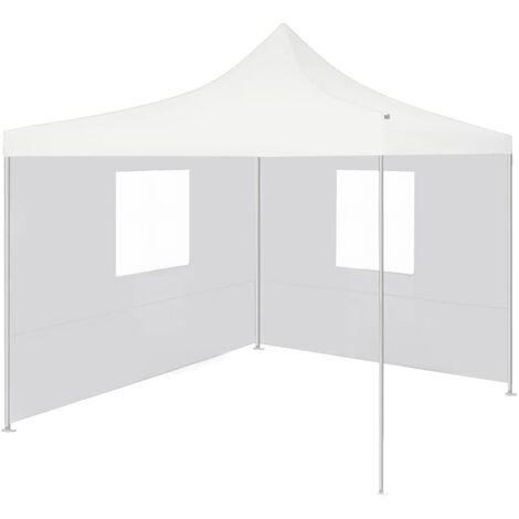 Tente de réception pliable avec 2 parois 3x3 m Acier Blanc