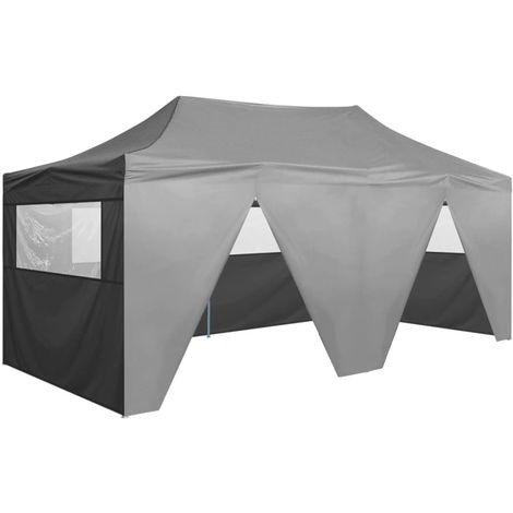 Tente de reception pliable avec 4 parois 3x6 m Acier Anthracite