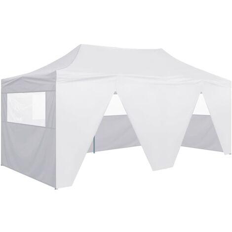 Tente de réception pliable avec 4 parois 3x6 m Acier Blanc