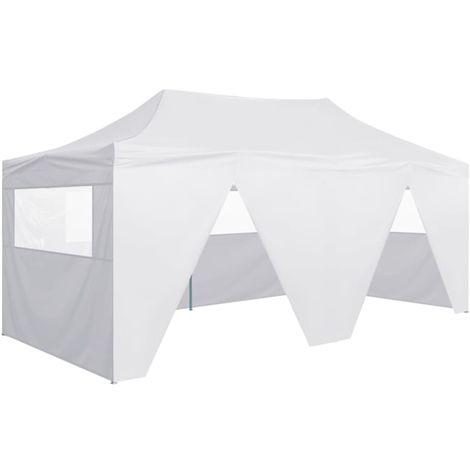 Tente de reception pliable avec 4 parois 3x6 m Acier Blanc