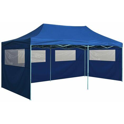 Tente de réception pliable avec 4 parois 3x6 m Acier Bleu