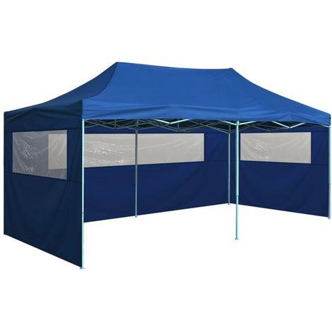 Tente de reception pliable avec 4 parois 3x6 m Acier Bleu