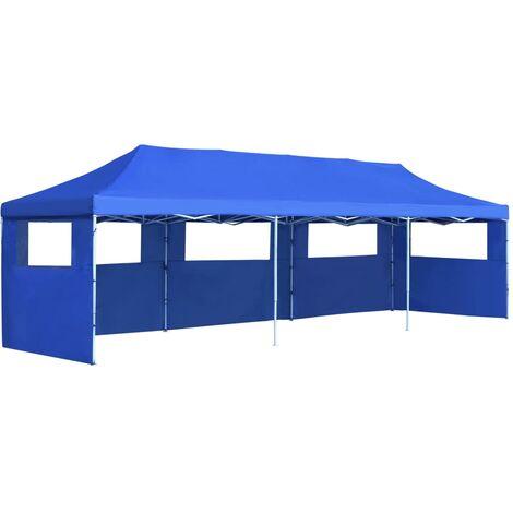 Tente de réception pliable avec 5 parois 3x9 m Bleu