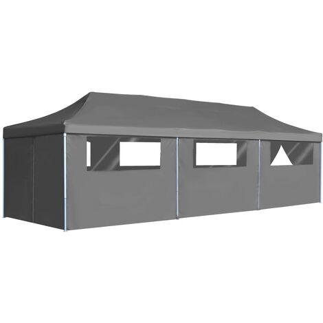 Tente de réception pliable avec 8 parois 3 x 9 m Anthracite
