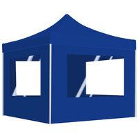 Tente De Reception Pliable Avec Parois Aluminium 3 X 3 M Bleu
