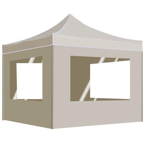 Tente de réception pliable avec parois Aluminium 3 x 3 m Crème