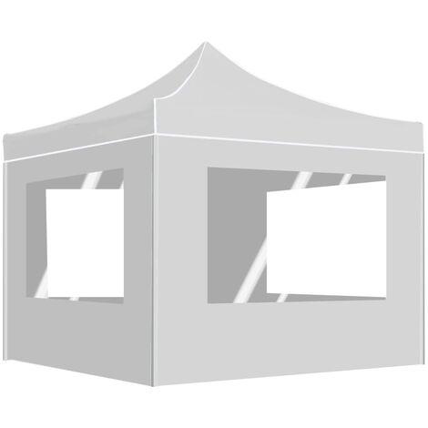 Tente de réception pliable avec parois Aluminium 3x3 m Blanc