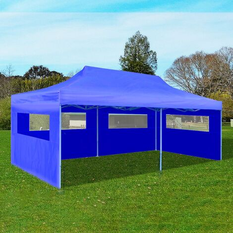 Tente de réception pliable bleue 3 x 6 m