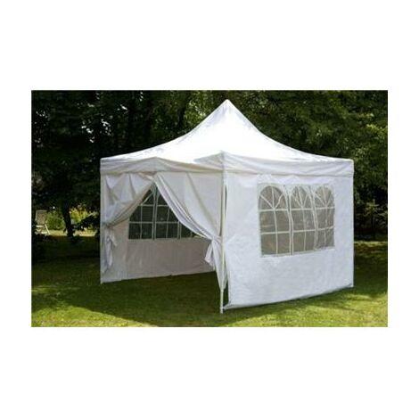 Tente de réception pliante 3x3m polyester 260g/m2 revêtement PVC avec 4 côtés
