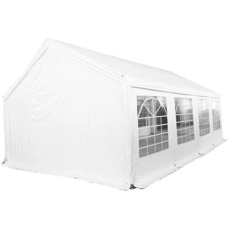 Tente de réception tonnelle en acier 50mm et bâches PVC 500g/m² œillets inox Chapiteau Barnum Tonnelle Blanc - 6x10m
