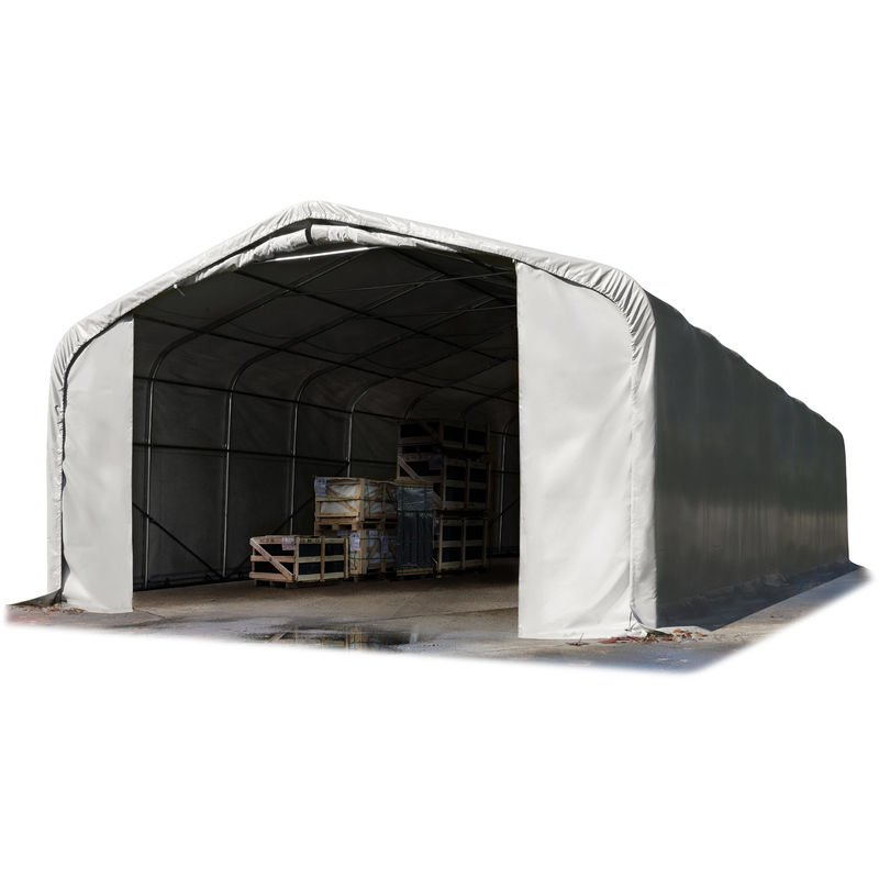 Intent24.fr - Hangar tente de stockage 6 x 12 m / H 2,7m tente d'élevage bâche PVC gris env. 720g/m² 100% imperméable