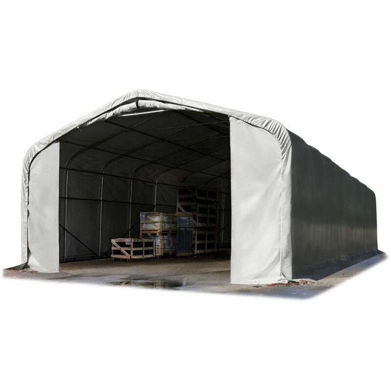 7x21m hangar INTENT24, porte 5,0x2,9m, toile PVC d'env. 550g/m², gris