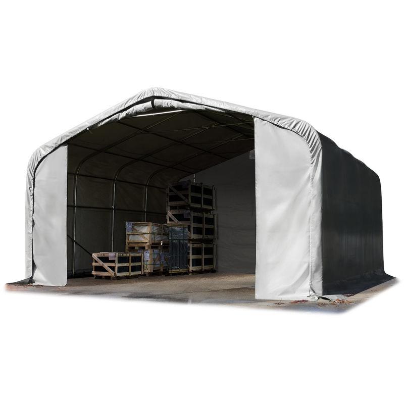 Intent24.fr - Tente de stockage 7 x 7 m tente d'élevage bâche PVC gris env. 550g/m² 100% imperméable WIKINGER d'INTENT24