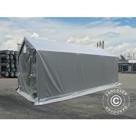 Tente de Stockage Tente Abri PRO 3x6x2x2,82m, PVC, Gris