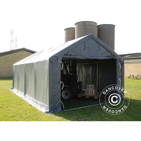 Tente de Stockage Tente Abri PRO 4x8x2,5x3,6m, PVC, Gris