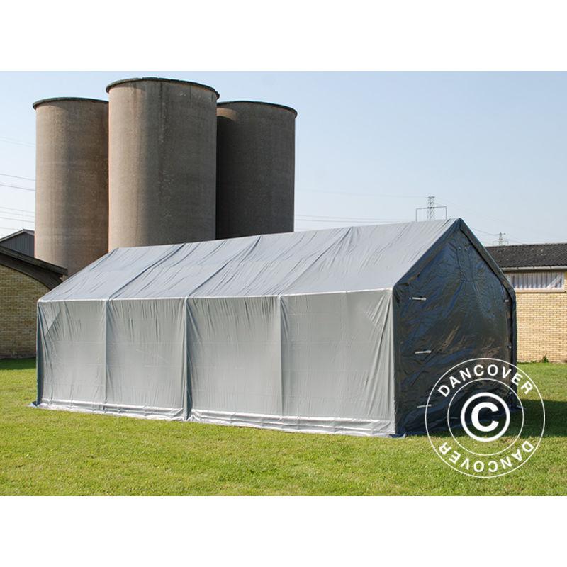 Tente de Stockage Tente Abri PRO 4x8x2x3,1m, PVC, Gris