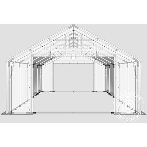 Tente de Stockage Tente Abri PRO 5x10x2x3,39m, PE, Gris