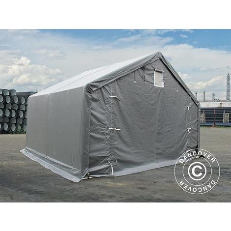 Tente de Stockage Tente Abri PRO 5x4x2x3,39m, PVC, Gris
