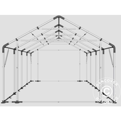 Tente de Stockage Tente Abri PRO 5x8x2x3,39m, PE, Gris