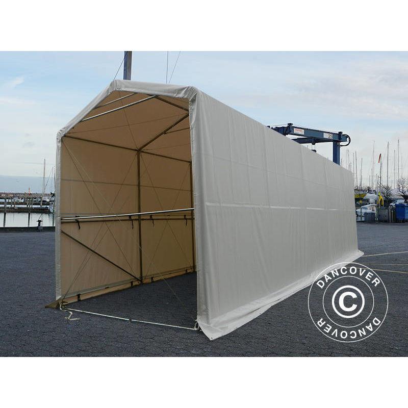 Tente de Stockage Tente Abri PRO XL Abri bateau 3,5x10x3,3x3,94m, PVC, Blanc