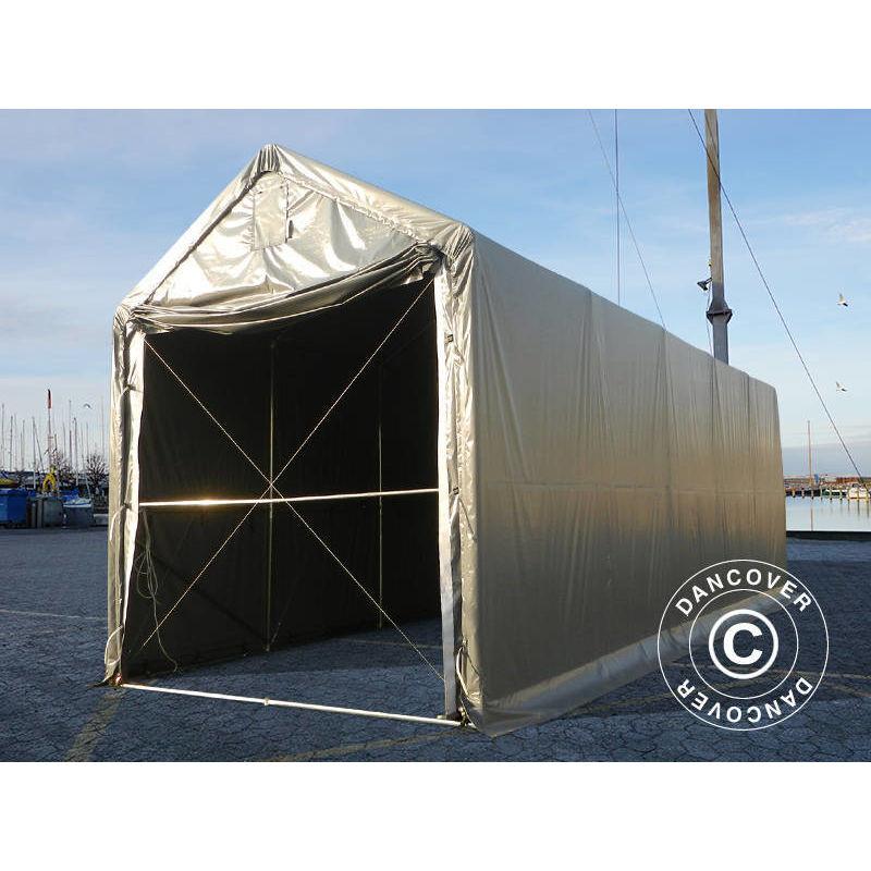 Tente de Stockage Tente Abri PRO XL Abri bateau 3,5x10x3,3x3,94m, PVC, Gris