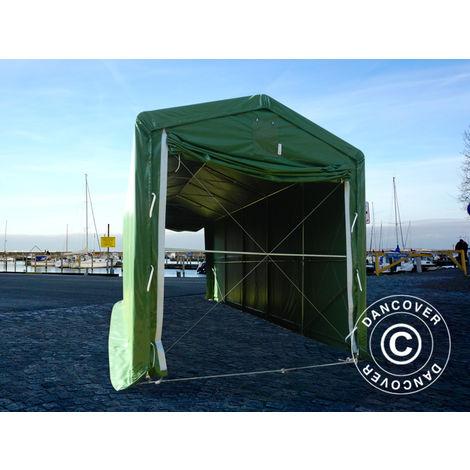 Tente de Stockage Tente Abri PRO XL Abri bateau 3,5x10x3,3x3,94m, PVC, Vert