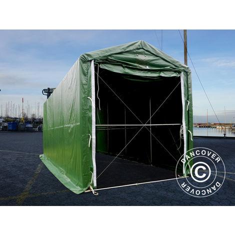 Tente de Stockage Tente Abri PRO XL Abri bateau 3,5x8x3,3x3,94m, PVC, Vert