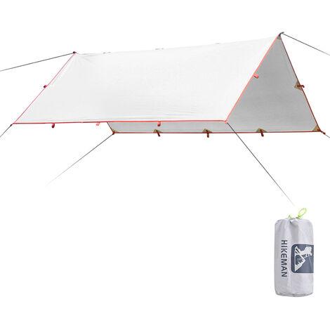 Tente D'Ombrage 3X2.1M, Bache Etanche, Auvent De Camping Pliant, Auvent De Plage Ultraleger (Sans Accessoires), Gris Argent