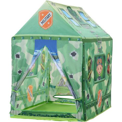 Tente enfant tente de jeu tente militaire dim. 93L x 69l x 103H cm 2 portes polyester vert
