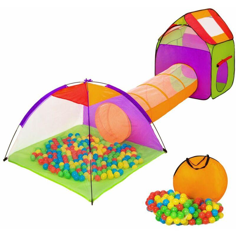 Helloshop26 - Tente enfant tente igloo et tunnel 200 balles et sac multicolore jeux jouets - Multicolore