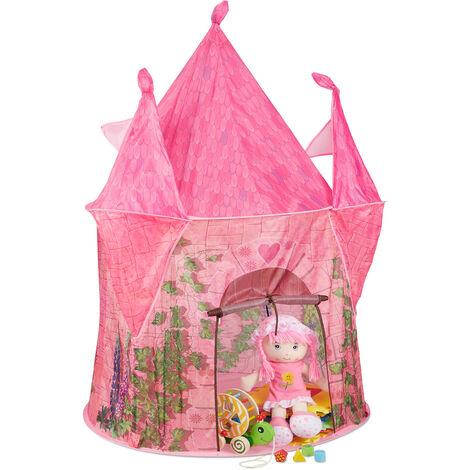Tente enfants, château de princesse, cabane de jeu pour l'intérieur et l'extérieur, HLP 142x102x102 cm, rose