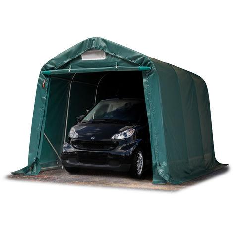 Tente-garage carport 2,4 x 3,6 m d'élevage abri agricole tente de stockage bâche env. 550g/m² armature solide vert fonce