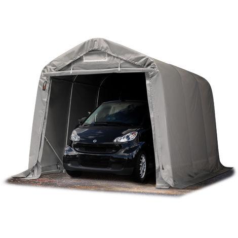 Tente-garage carport 2,4 x 3,6m d'élevage abri agricole tente de stockage bâche env. 550g/m² armature solide gris