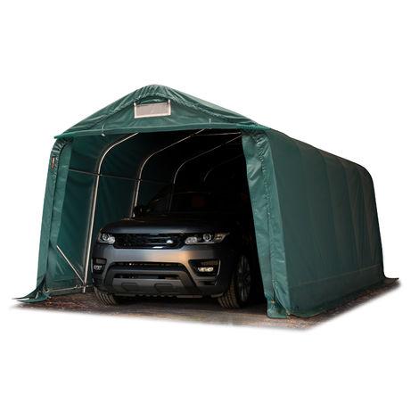 Tente-garage carport 3,3 x 6 m d'élevage abri agricole tente de stockage bâche env. 550g/m² armature solide vert foncé sol dur, béton