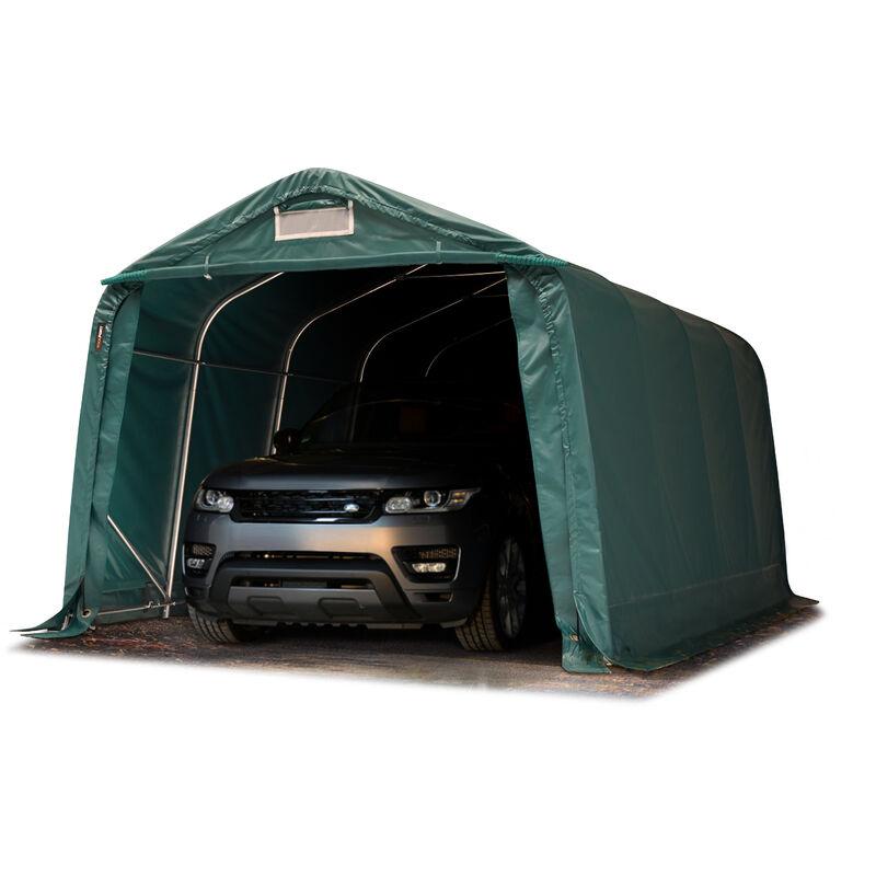 Intent24.fr - Tente garage carport 3,3 x 7,2 m tente d'élevage abri stockage H 2,1m, bâches PVC anti feu épaisses d'env. 720g/m² vert foncé, sol dur,