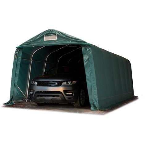 Tente-garage carport 3,3 x 7,2m d'élevage abri agricole tente de stockage bâche 550g/m² armature solide vert fonce