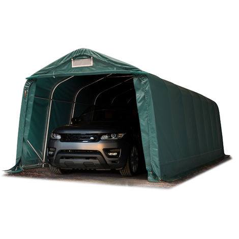 Tente-garage carport 3,3 x 8,4 m d'élevage abri agricole tente de stockage bâche env. 550g/m² armature solide vert foncé, sol dur, béton
