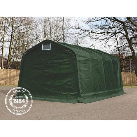 Tente-garage carport 3,3x8,4 m d'élevage abri agricole tente de stockage bâche env. 550g/m² armature solide vert fonce