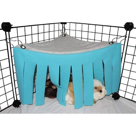Tente hamac pour petit animal hamster Cage Accessoires Nid Lit pour cochon d'Inde, chinchilla, hérisson, rat, écureuil, furet, lapin nain (bleu)