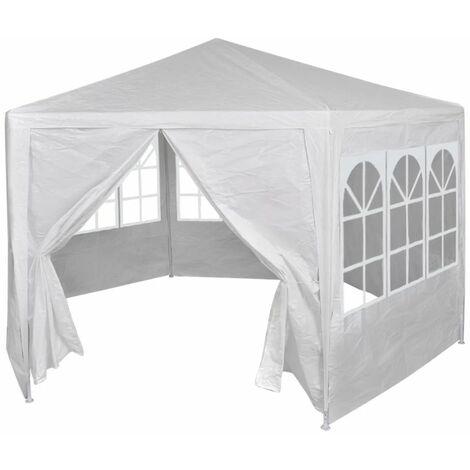 Tente Hexagonale, Acier Tubulaire, Polyethylene, 2X2X2,5, Blanc