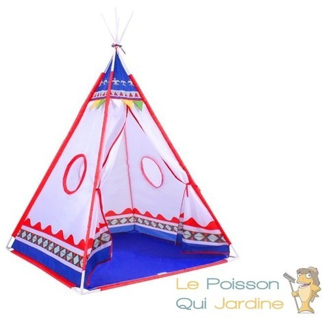 tente indien tipi de jeu pour enfants bleu et blanc 7842. Black Bedroom Furniture Sets. Home Design Ideas