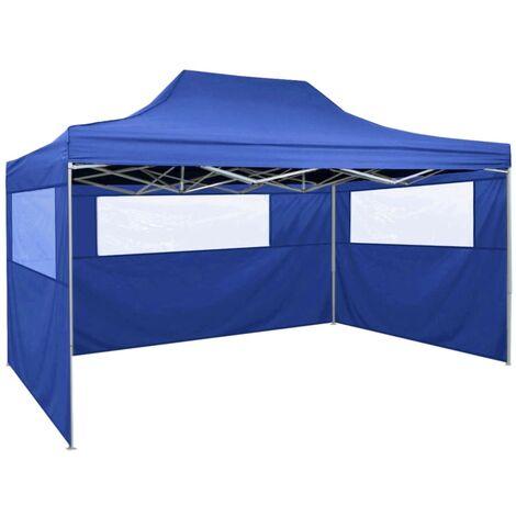 Tente pliable avec 3 parois 3 x 4,5 m Bleu