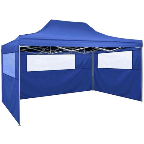 Tente pliable avec 3 parois 3 x 4,5 m Bleu tente extérieure