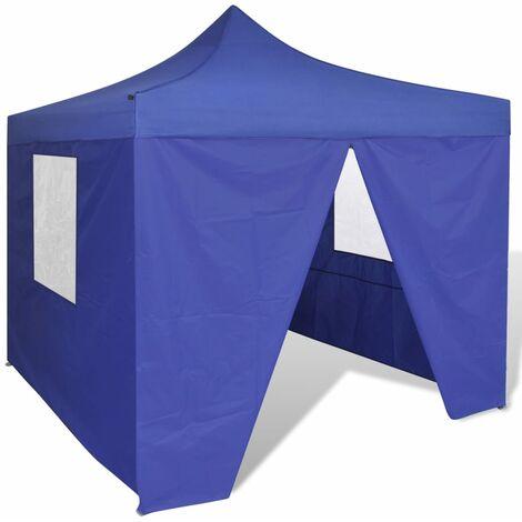 Tente pliable avec 4 parois Bleu 3 x 3 m