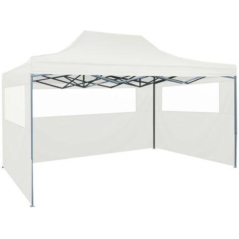 Tente pliable de réception avec 3 parois 3 x 4,5 m Blanc