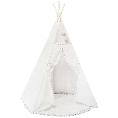 Tente Pliable Jeu Pour Enfants, Dentelle Boule De Cheveux Blancs 120 * 150Cm