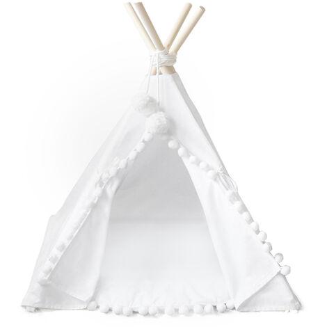 Tente Pliable Jeu Pour Enfants, Dentelle Boule De Cheveux Blancs 50 * 50 * 60Cm