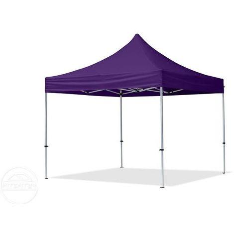 Tente Pliante 3x3 m - 2 côtés Aluminium Barnum Chapiteau Pliant Tonnelle Stand Paddock Réception Abri mauve