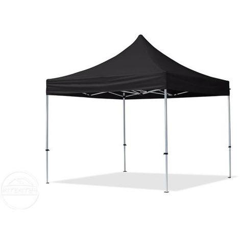 Tente Pliante 3x3 m - 2 côtés Aluminium Barnum Chapiteau Pliant Tonnelle Stand Paddock Réception Abri noir