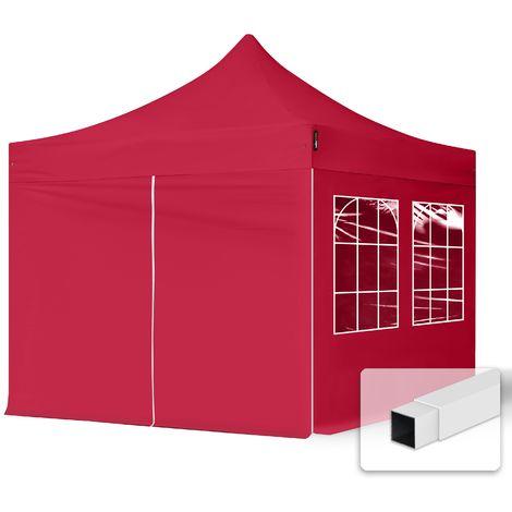 Tente Pliante 3x3 m - 4 côtés Acier Barnum Chapiteau Pliant Tonnelle Stand Paddock Réception Abri rouge